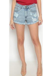 Short Jeans Com Destroyed - Azul - Lanã§A Perfumelanã§A Perfume