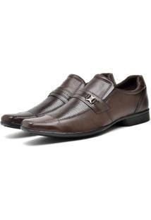 Sapato Social Masculino Couro Bico Fino Macio Dia A Dia - Masculino-Marrom
