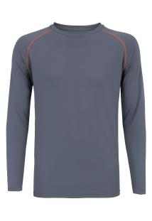 8f528456bfa4a Camiseta Manga Longa Com Proteção Solar Uv50 Oxer Custom - Masculina -  Cinza Esc Laranja