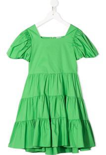 Piccola Ludo Vestido Midi Com Mangas Bufantes - Verde
