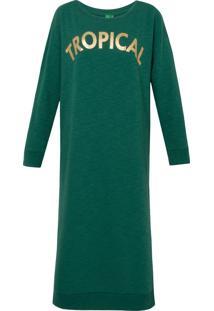 Vestido Mídi Moletom Tropical - Verde
