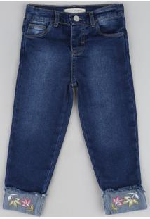 Calça Jeans Infantil Reta Com Barra Dobrada E Bordado Azul Escuro