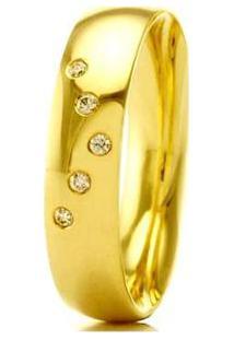 Aliança De Casamento Feminina Em Ouro 18K 5Mm Pedras De Zircônica Wm Jóias - Feminino-Dourado