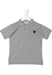 Comme Des Garçons Play Kids Camisa Polo 'Coração' - Cinza