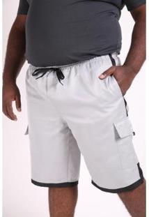 Bermuda Kauê Plus Size Microfibra Bolso Lateral Masculina - Masculino-Cinza