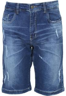Bermuda Jeans Aeropostale Reta Bolsos Azul