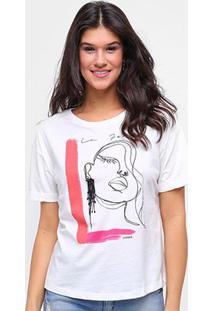 Camiseta Sommer Básica La Femme Feminina - Feminino-Off White