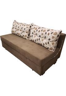 Sofa Cama Omega Com 2 Lugares Assento Veludo Marrom Claro Base Madeira - 52161 Sun House