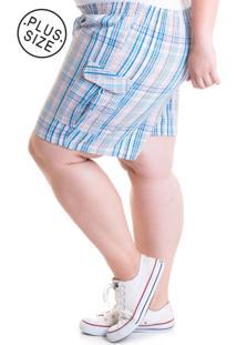 Bermuda Konciny Plus Size Tecido Anarruga 24828 Xadrez Azul - Azul - Feminino - Dafiti