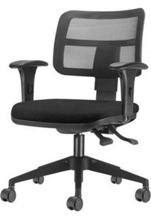 Cadeira Zip Tela Assento Crepe Preto Base Rodizio Piramidal Em Nylon - 54410 Sun House