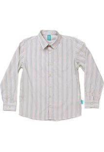 Camisa Jokenpô Infantil Em Tricoline Listrada Masculina - Masculino-Creme