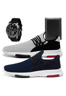 Kit 2 Tênis Caminhada Esportivo Sapatofran Leve Branco E Azul Com Relógio E Carteira