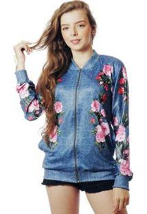Jaqueta Elephunk Bomber Floral Estampada Full Print Rosas Fashion Feminina - Feminino-Azul