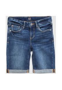 Bermuda Jeans Gap Infantil Estonada Azul