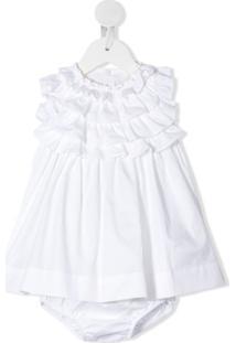 Il Gufo Vestido Com Babados Na Gola - Branco