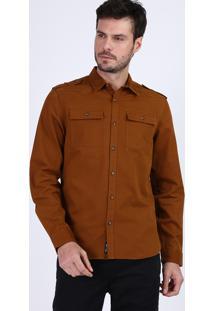 Camisa De Sarja Masculina Tradicional Com Bolsos Manga Longa Marrom
