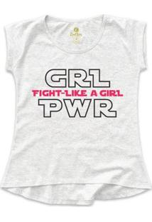 Camiseta Geek Feminina T-Shirt Series E Cinema Cool Tees Girl Power - Feminino-Cinza