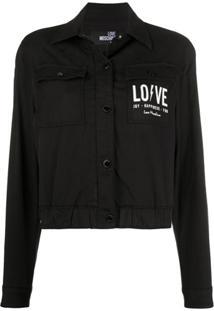 Love Moschino Jaqueta Jeans Cropped Com Logo - Preto