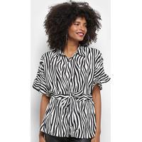 488403825 Blusa Top Moda Animal Print Zebra Amarração Feminina - Feminino-Branco
