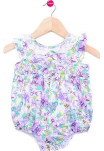 Body Bebê Tip Top Floral Lilás Roxo