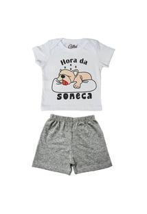 Pijama Bebê Manga Curta Catha Hora Da Soneca Mescla