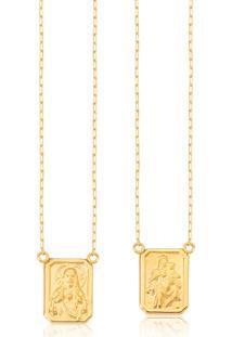 Escapulário Masculino De Ouro 18K Com Medalhas Ornato De N.S.Carmo E S.C.Jesus