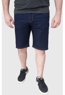 Bermuda Jeans Elastano Aizone Básica Confort Azul