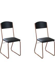 Conjunto Com 2 Cadeiras Byron Preto E Cobre