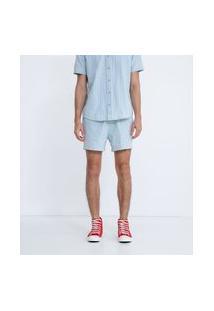 Bermuda Jeans Listrada Com Amarração | Blue Steel | Azul | G
