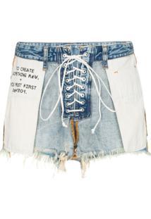 Unravel Project Short Jeans Destroyed Costurado Pelo Avesso Com Amarração - Azul