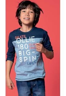 1e22925e1 Camiseta Infantil Menino Manga Longa Em Malha Fio Tinto Hering Kids
