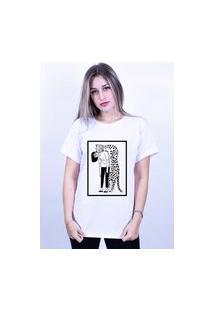 Camiseta Corte A Fio Bilhan Onça Abraço Gde Branca