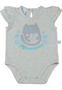 Body Bebê Malha Listrada I Love Mommy - Feminino-Amarelo