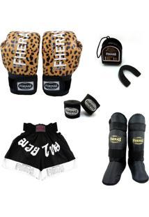 Kit Muay Thai Fheras Top Luva Bandagem Bucal Caneleira Shorts Fheras 14 Oz Onça - Unissex