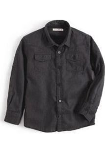Camisa Mini Regular Western Sarjada Infantil Reserva Mini Masculina - Masculino-Preto