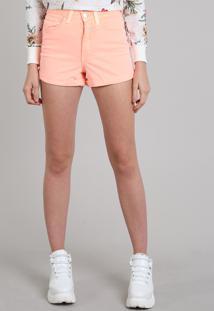 Short Feminino Hot Pant Cintura Alta Laranja Neon