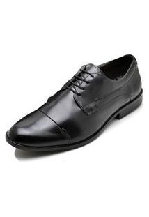 Sapato Social Fepo Store Couro Liso Com Cadarço Trabalho Preto