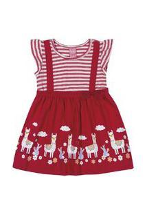 Vestido Kinha Em Meia Malha Alto Veráo Vermelho Copas