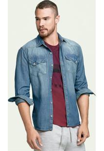 528503acd Camisa Jeans Masculina Hering Com Bolsos