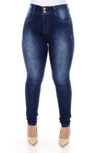 Calça Xtra Charmy Jeans Plus Size Com Cinta Modeladora Danica Azul