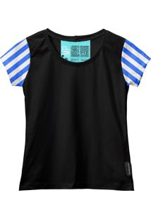 Camiseta Baby Look Feminina Algodão Listrada Estilo Moda Azul-Preto G Azul