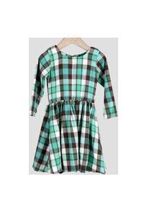 Vestido Infantil Dolce Bambina Xadrez Verde