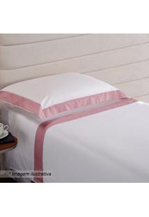 Fronha Hotel Com Pespontos- Branca & Rosa- 70X50Cm