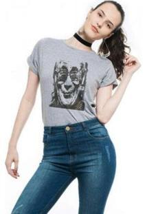 Camiseta Joss Premium Mescla Gandhi - Feminino-Cinza