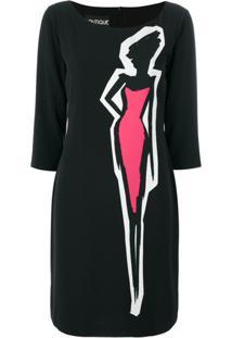 Boutique Moschino Vestido Com Estampa De Silhueta - Preto