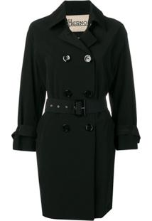 Herno Trench Coat Com Cinto - Preto