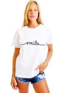Camiseta Joss Estampada Smile Feminina - Feminino-Branco