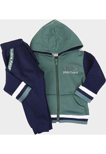 Conjunto Infantil Milon Jaqueta Capuz + Calça Moletom Masculino - Masculino-Verde Escuro