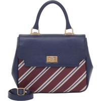 72043e690 Bolsa Smart Bag Couro Listras - Feminino-Azul
