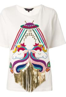Manish Arora Camiseta Com Aplicação De Unicórnio - Branco